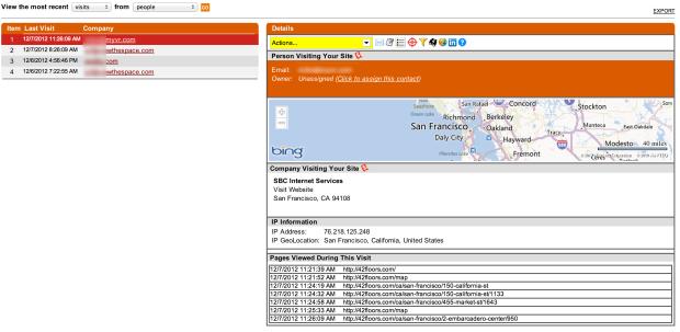 Screenshot von 42floors mit Informationen der Seitenbesucher, die sich nicht eingeloggt haben.