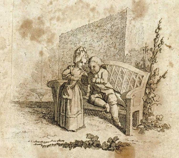 Kinder lesen. Kupferstich von 1778. (Bibliothek für Bildungsgeschichtliche Forschung)