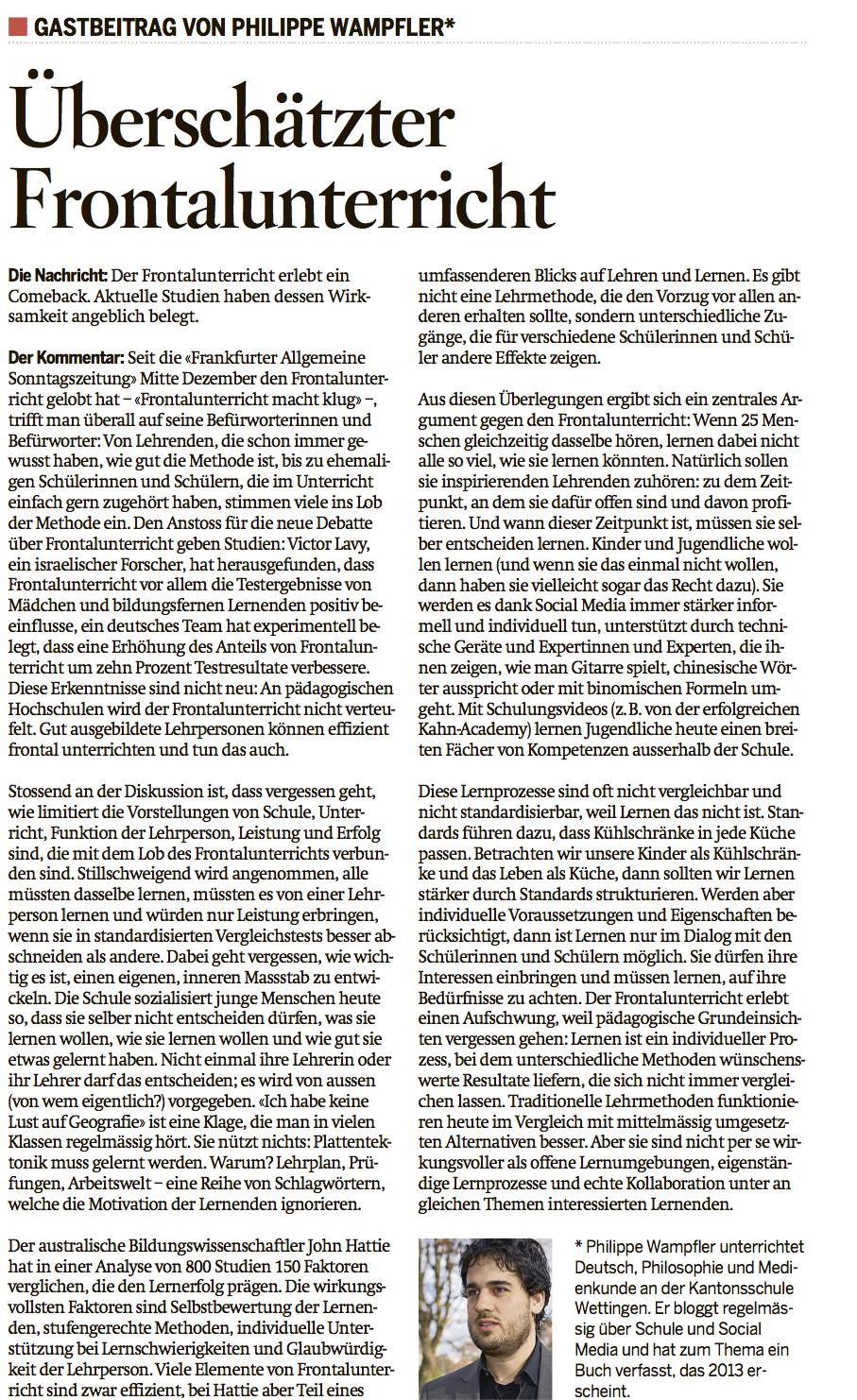 Der Sonntag, 13. Januar 2013, S. 13.