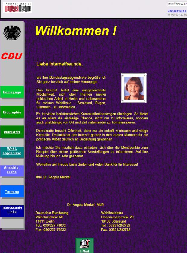 Homepage von Angela Merkel aus dem Jahr 2000.