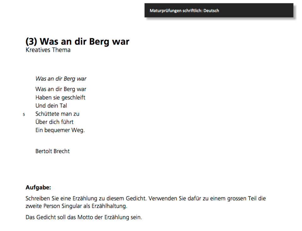Maturprüfung 2011, Deutsch Kantonsschule Wettingen, Aufgabe 3 von 4.