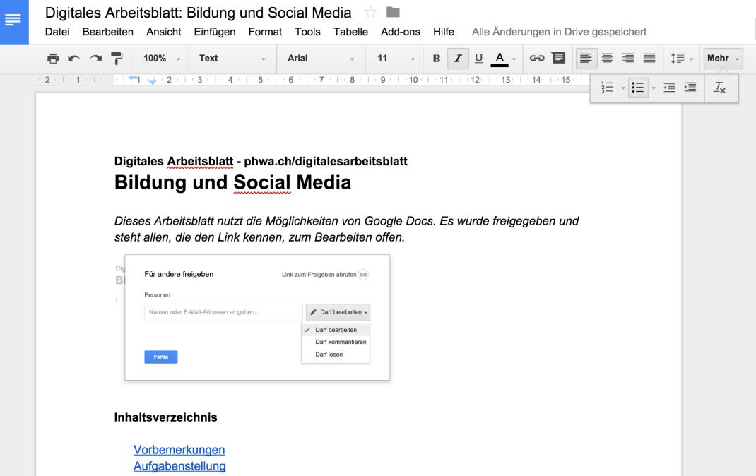 Digitales Arbeitsblatt | Schule Social Media